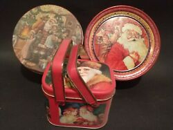 Lot Of 3 Antique Christmas Holiday Collectors Tins