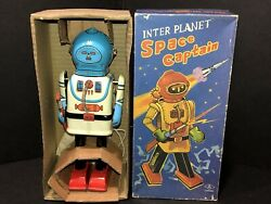 Vintage Wind-up Robot Tin Tom Toy Inter Planet Space Captain Japan Wow 7th Made