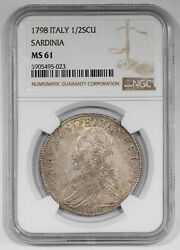 1798 Italy Sardinia 1/2 Scudos Ngc Certified Ms 61 Mint State Uncirculated 023