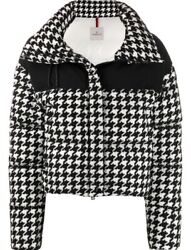 Moncler Nil Houndstooth Puffer Jacket White And Black Nwt