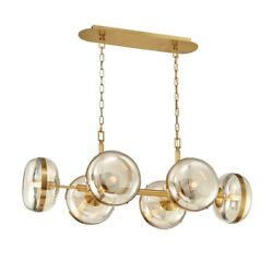 Eurofase 6 Light Oval Chandelier Ancient Brass/champagne - 38130-014