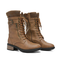 Womens Mid Calf Combat Riding Boots Winter Warm Fur Riding Boots Shoes Size 5-12