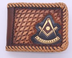 Masonic Past Master Hand Tooled Handcrafted Leather Wallet Billfold Mason Bifold