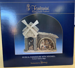 """Fontanini 5"""" Collection Musical Farmhouse With Windmill Exclusively By Roman Inc"""