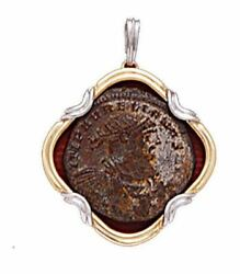 14k Gold / Silver Pendant With Roman Coin