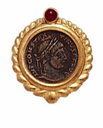 14k Gold Ribbed Ruby Bezel Pendant With Bronze Roman Coin