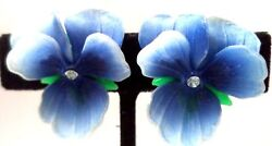 Vintage Pansy Violets Flower Bouquet Celluloid Glass Earrings Clip Brooch Pin