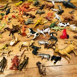 Huge Lot Of Plastic Toy Animals Jungle Safari Dinos Mammals Reptiles Insects Etc