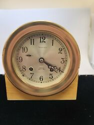 And Co Chelsea Shipand039s Bell Clock With Wood Base With Key Clock Works