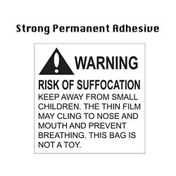 """500 Pcs Warning Risk Of Suffocation """"keep Away From Small Children"""" Label 2x2"""