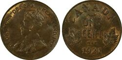 1921 Canada 1 Cent Pcgs Ms-65 Bn. Canada Small Cent