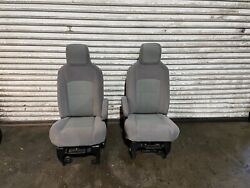 2009-2020 Ford Van E150 E250 E350 Front Seats Seat Gray Cloth Only 57k Oem