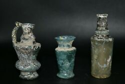 Authentic 3 Ancient Roman Glass Bottle Vessels With Lovely Iridescent Colors