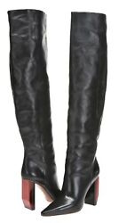 Vetements Womens 'reflector' Black Leather Knee High Boots Sz 39 New 230102