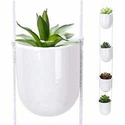 Nattol 4 Tier Hanging Planter White Ceramic Wall Planters Decorative Pots For