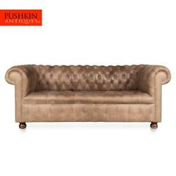 Late 20thc Two Seater Chesterfield Leather Sofa With Button Down Seat