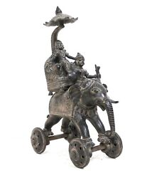 Antique Elephant Brass Rider Wheel Statue Engraved Indian Handcrafted Decor Gift