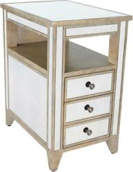Chairside Chest Side Table Antique Pewter Distressed Gold Mirror Birch Ste