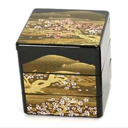 Japanese Lacquer Stack Lunch Bento Box 3-tier 3.5l Yoshino Sansui Made In Japan