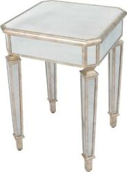 Side Table Antique Pewter Distressed Mirror Birch Mirrors