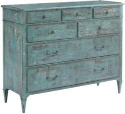 Dressing Chest Woodbridge Marseilles Blue Distressed French 7-drawer Wood
