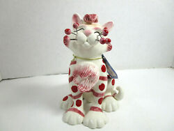 WhimsiClay Amy Lacombe 2006 Cat Hand Painted Porcelain Figurine #13019 w Tag
