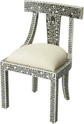 Accent Chair Occasional Traditional Antique Curved Back Black Distressed Bo