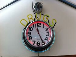 1940andrsquos Vintage American Large Chrome Neon Drug Store Clock Collectible Americana