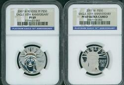 2007-w 10th Anniversary 50 Platinum Ngc Pf69 Pr69 Proof And Reverse 2-coins Set