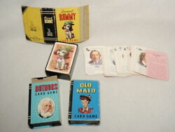 Lot 3 Mini Whitman Peter Pan Card Games Rummy Authors Old Maid Incomplete