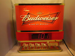 2008 Budweiser King Of Beers Lighted Clock Beer Sign Clydesdale Horses And Wagon