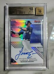 2017 Bowmanand039s Best Lucas Erceg Auto Refractor Rc Rookie Bgs 10 B17-le Brewers