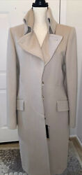 New Coat Fall/winter Wool/cashmere Beige Full Length Size 44 Lined Italy