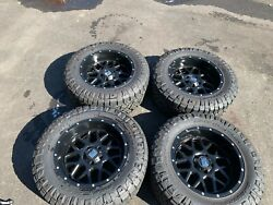 Tires 4 Nitto 35x12 50r20 Mounted On 10x 20 Black Rims 1500 Ram Will Separate