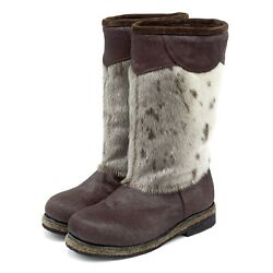 High Fur Boots For Women Russian Style Unty Seal Fur Pony Fur White Spotted