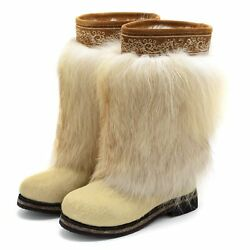 Fur Boots For Women Russian Style Unty Natural Fox And Pony Fur Ivory Color