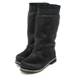 Fur Boots For Women Russian Style Hooded Seal Fur Pony Fur Embroidered Black