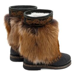 Fur Boots For Women Russian Style Unty Natural Gold Fox And Black Pony Fur