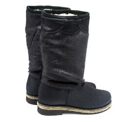 High Fur Boots For Women Russian Style Unty Hooded Seal Fur Pony Fur Black