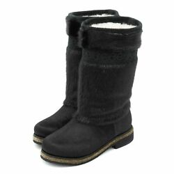 Fur Boots For Women Hooded Seal Fur Pony Fur Black Russian Style Embroidered