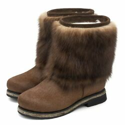 High Fur Boots For Women Sable Fur Pony Pearl-gold Fur Russian Style Unty