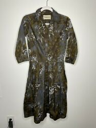 Samantha Sung Women's Watercolor Print Audrey Shirt Dress In Blue And Brown Size 4