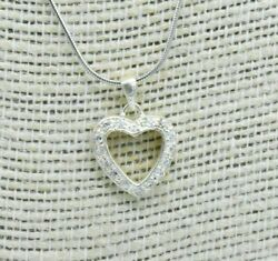 Vintage Sterling Silver Necklace Heart Cz Love Art Deco 16 Inch Gift N695