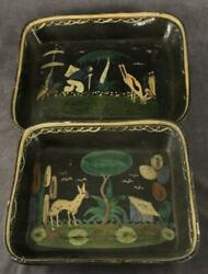 Estate Lot Folk Art Mexico Aztec Hand Painted Clay Pottery Bowls Cactus Animals