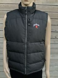 Rare Jim Beam Whiskey Black Nylon And Down Insulated Puffer Jacket Vest L Xl