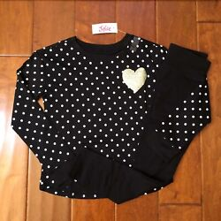 Nwt Justice Girls 7 8 10 12 Outfitglitter Heart Dot L/s Tee / Black Leggings