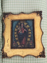 Exceptional Rare Mexican Retablo Painting In Golden Frame