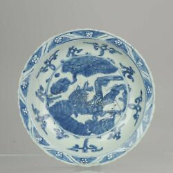 16c Period Chinese Porcelain Dish Charger Deer And Crane Antique Marked Ming
