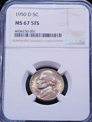1950-d Jefferson Nickel Ngc Ms67 5fs Full Steps Magnificent Pq Coin Gc299