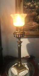 Vintage Elegant Enameled Glass Banquet Oil Lamp With Tulip Shade